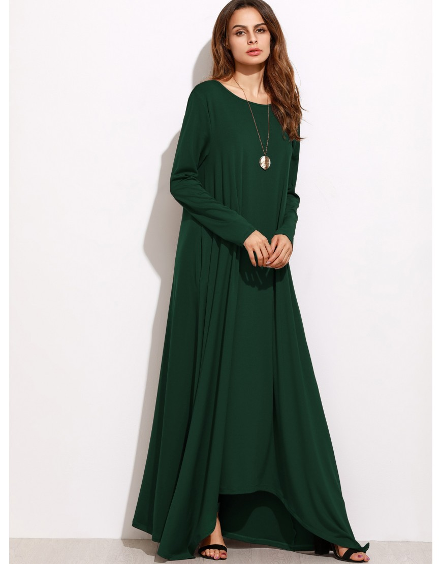 OVERSIZED GREEN SHIFT MAXI DRESS