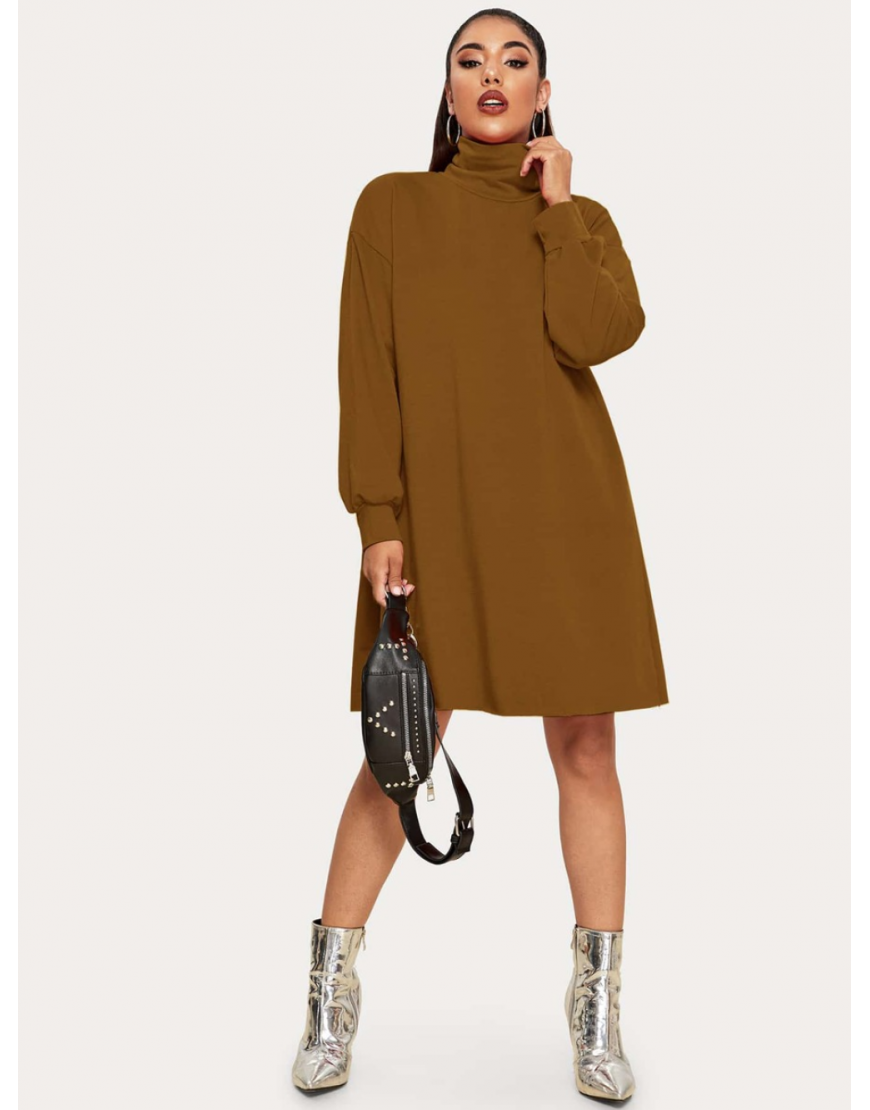 High Neck Longline Sweatshirt Dress