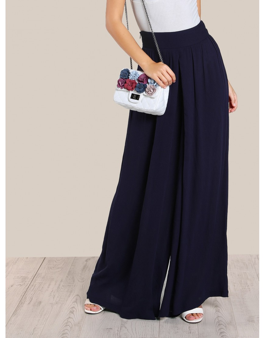 NAVY HIGH WAISTED PALAZZO PANTS