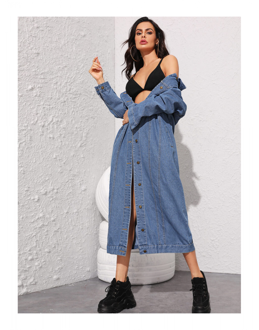 Oversized  Longline Button Down Denim Jacket