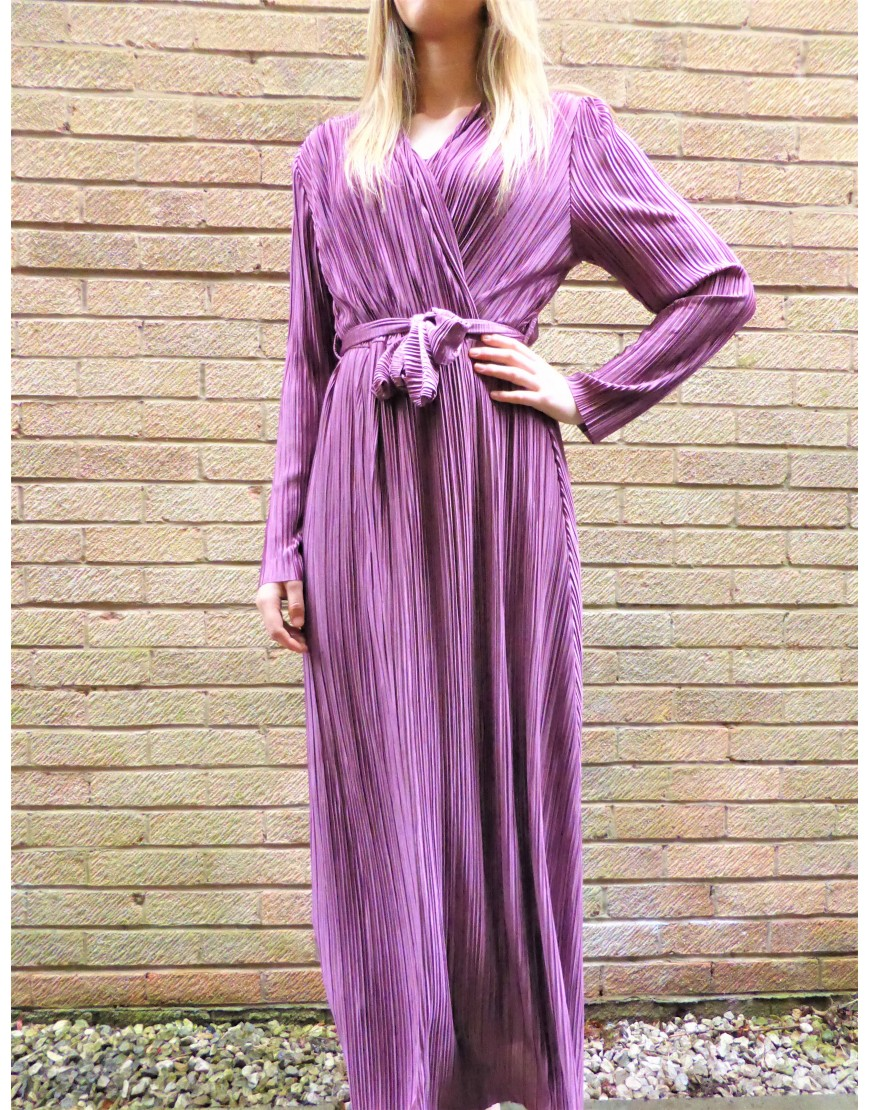 PURPLE PLUNGE NECK CRINKLE MAXI DRESS
