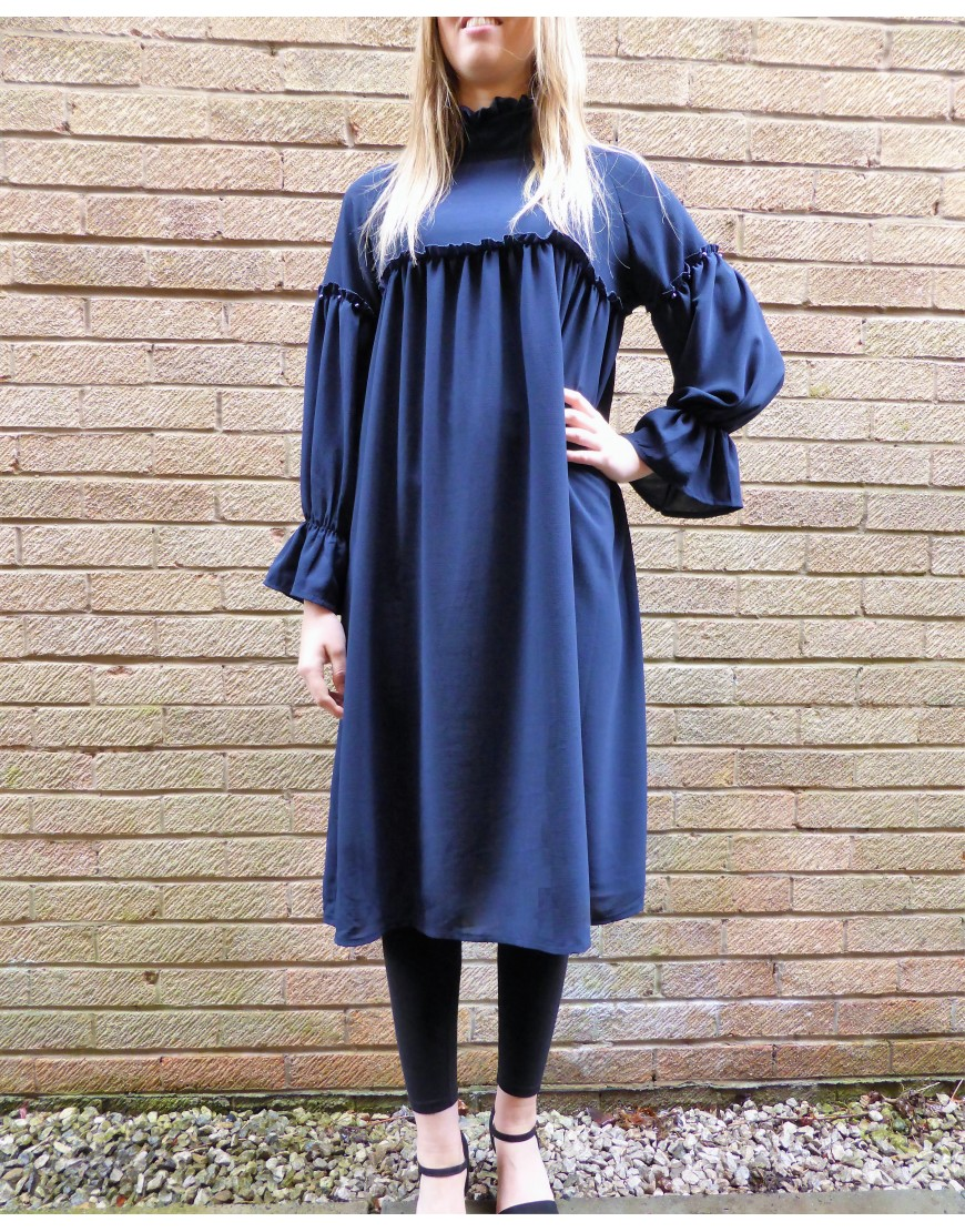 BLUE OVERSIZED RUFFLE DETAIL TUNIC